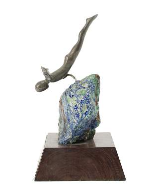 A Los Castillo silver and azure-malachite diving trophy