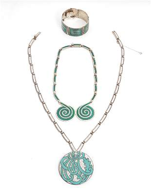 A group of Margot de Taxco silver and enamel jewelry