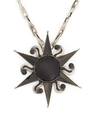 An Antonio Pineda silver, onyx and obsidian