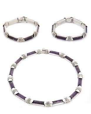 A set of Antonio Pineda silver and amethyst jewelry