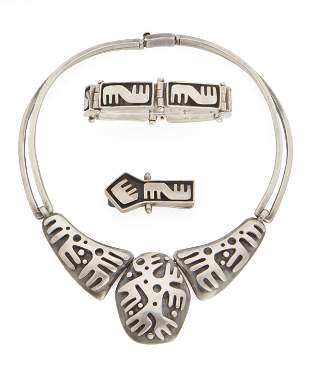 A group of Salvador Teran silver jewelry
