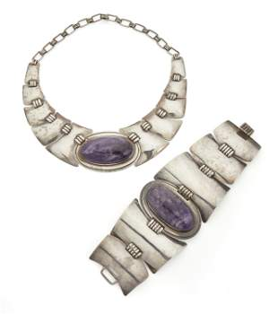 A set of Abraham Paz silver and amethyst jewelry