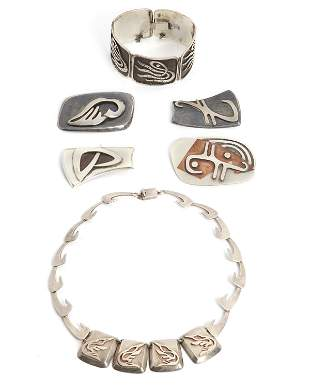 A group of Enrique Ledesma sterling silver jewelry