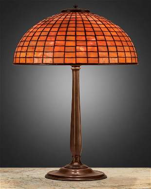 A Tiffany Studios geometric table lamp