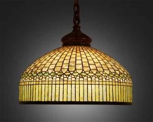 "A Tiffany Studios ""Curtain Border"" hanging lamp"