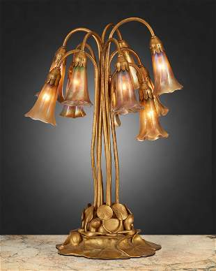"A Tiffany Studios ten-light ""Pond-Lily"" table lamp"