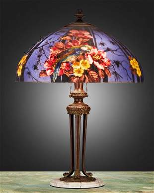 """A Handel reverse-painted glass """"Parakeet"""" table lamp"""