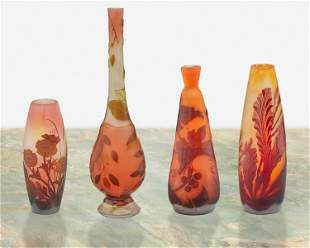 Four Galle cameo glass bud vases