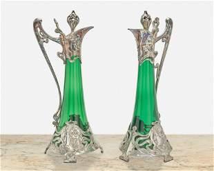 A pair of WMF Jungendstil decanters