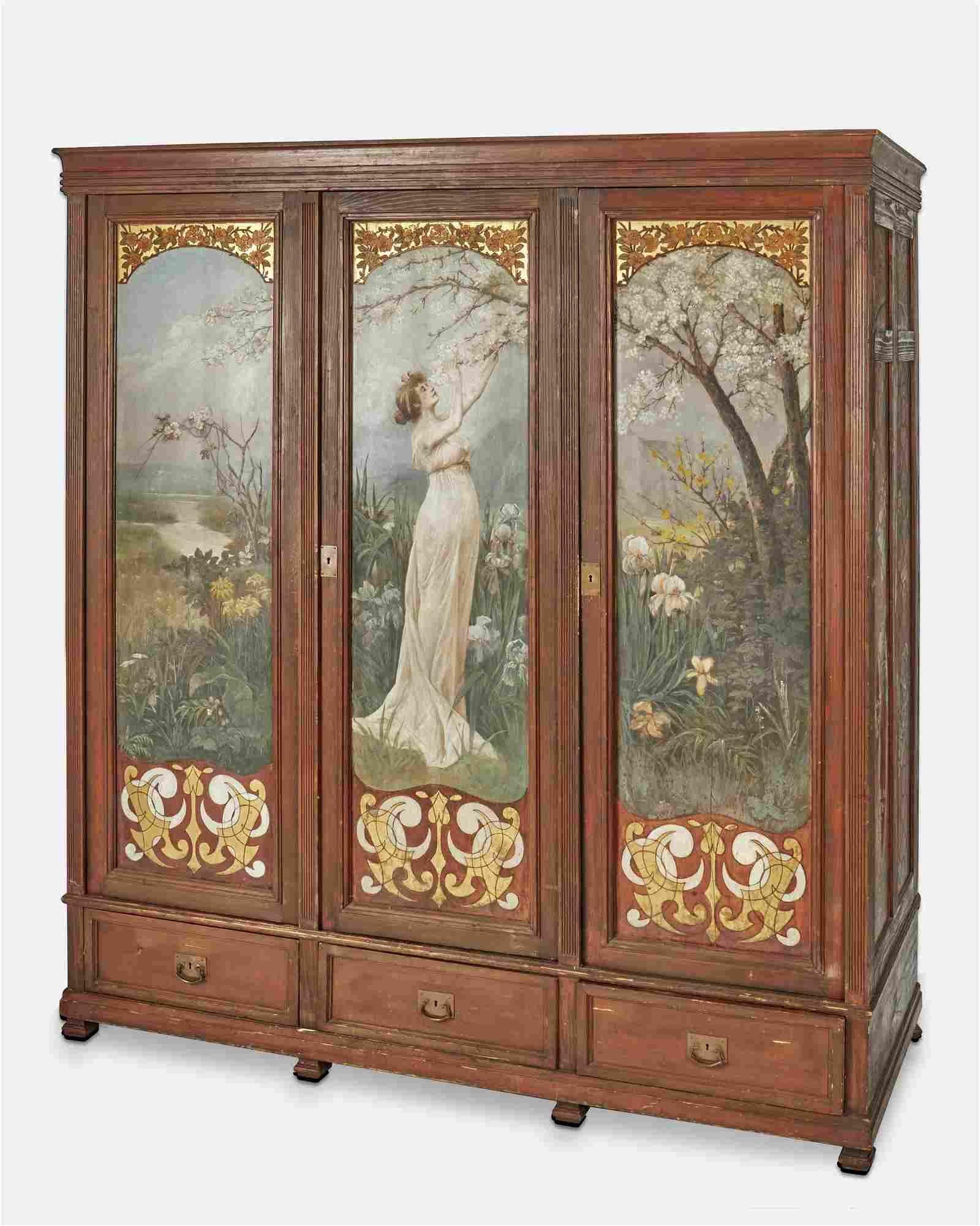 An Art Nouveau hand-painted armoire