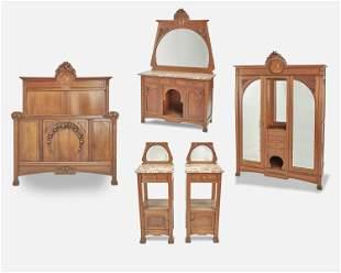 An Art Nouveau walnut marquetry bedroom set