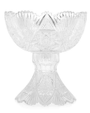 An American Brilliant cut glass punch bowl with stand