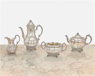 An English sterling silver coffee and tea service