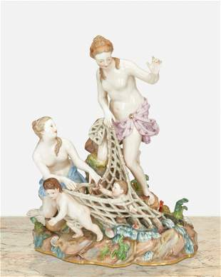 """A Meissen """"Capturing the Tritons"""" figural group"""