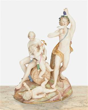 """A Meissen """"Bacchus"""" figural group"""
