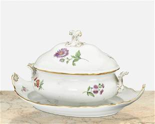 A Meissen lidded tureen and underplate