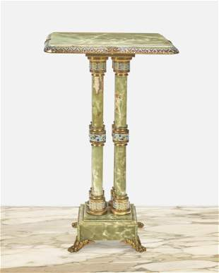 A green onyx and champleve lamp table