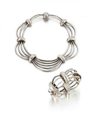 "A set of Antonio Pineda silver ""Birdcage"" jewelry"