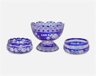 Three Continental cobalt blue cut glass table items