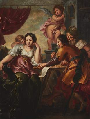 Figures and Putti in an interior