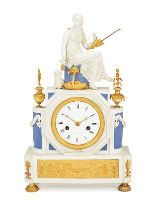 A Sevres-style French Empire bisque porcelain figural