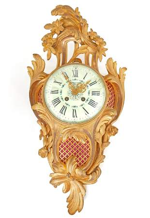 A French Louis XVI-style cartel wall clock retailed by