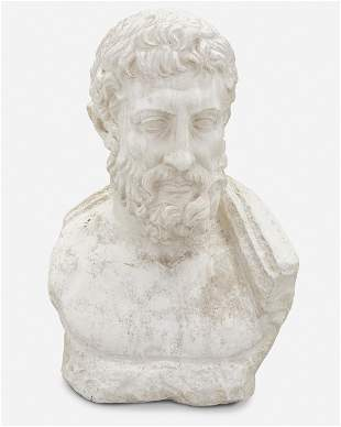 A plaster cast of a Classical-style portrait bust