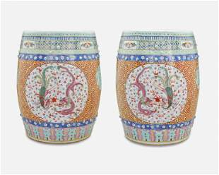 A pair of Chinese Famille Rose-style porcelain garden