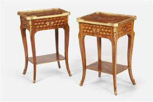 A pair of French-Louis-XV-style marquetry lamp tables