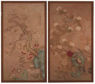 A pair of Early 20th Century Chinese painted panels