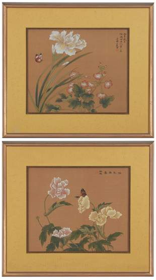 A pair of 19th Century Chinese framed paintings