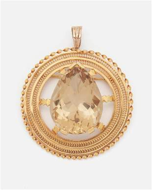 A large smoky quartz pendant/brooch
