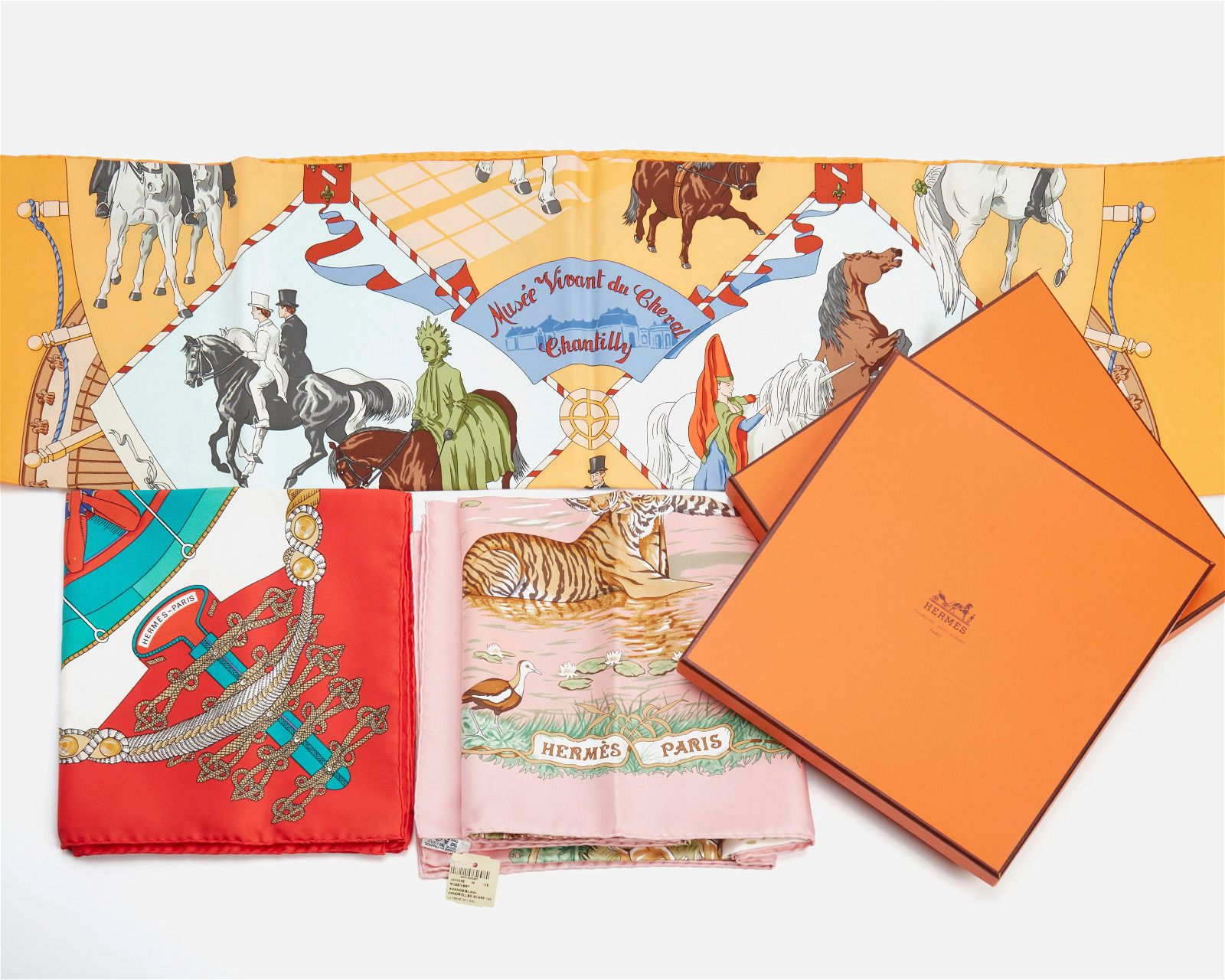 Three Hermes silk scarves