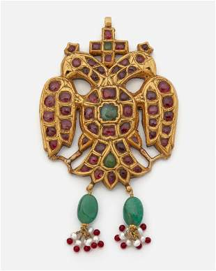 An Indian gem-set double-headed eagle pendant