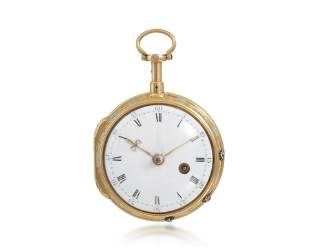 A Grant, London 18k gold and enamel pocket watch