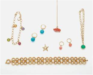 A group of gold jewelry, including Tiffany & Co.