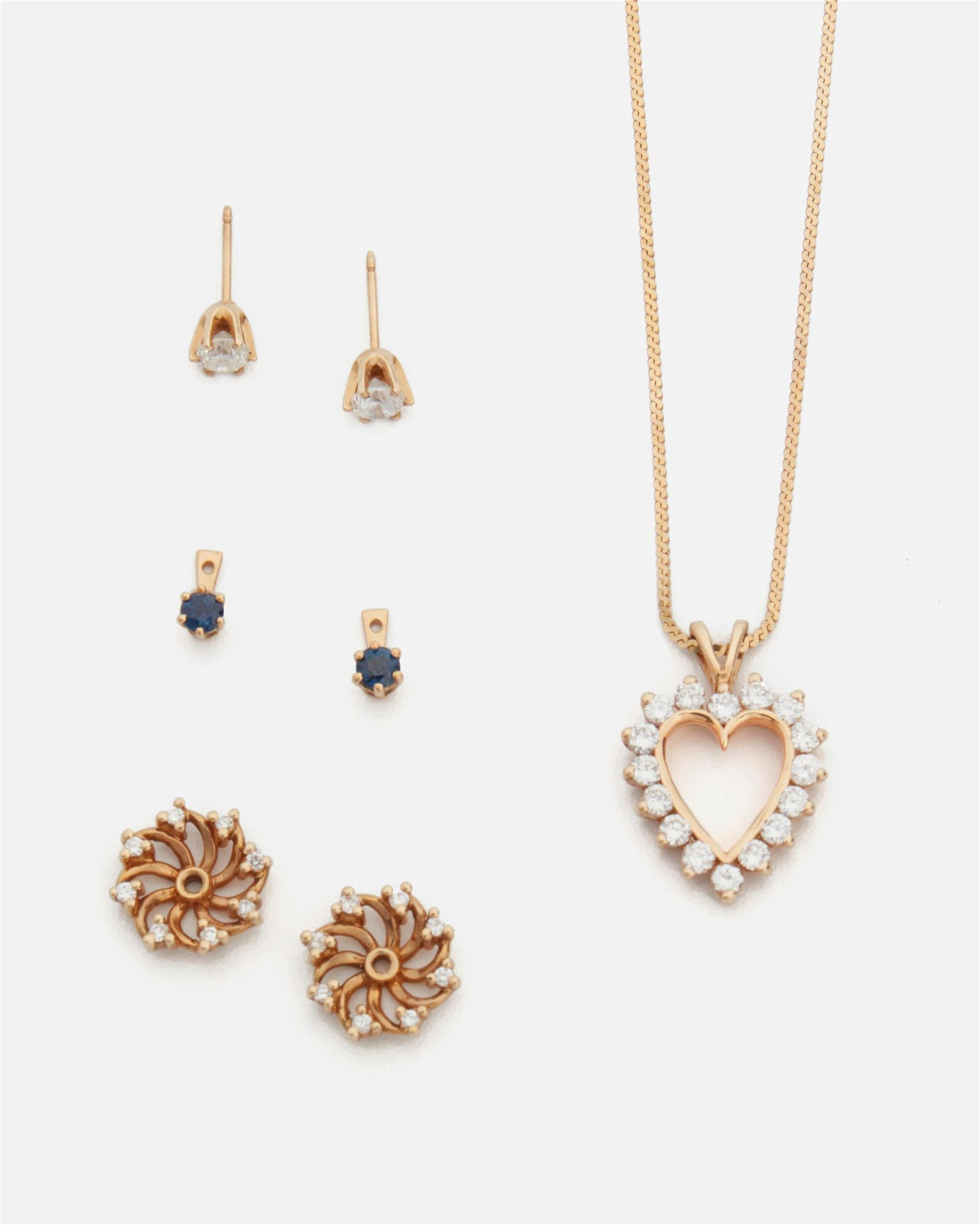 A group of diamond jewelry