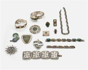 A group of Mexican silver jewelry