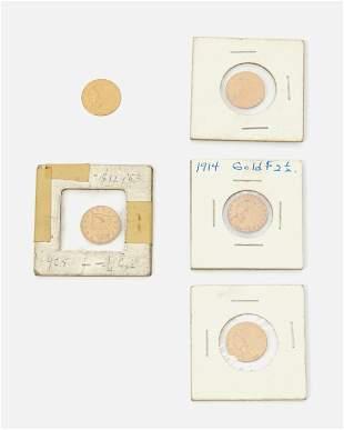 Five U.S. gold coins
