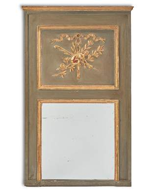 A French parcel gilt carved wood trumeau mirror