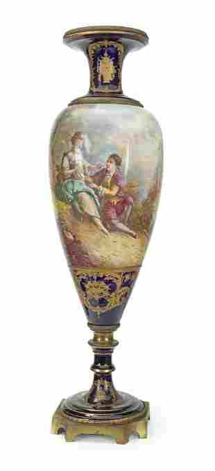 A tall Sevres porcelain urn