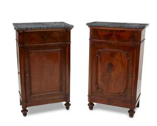 A near-pair of Italian walnut commodes