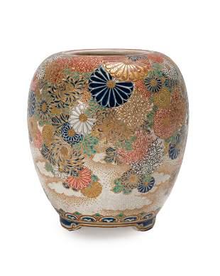 A Japanese Satsuma vase with chrysanthemums