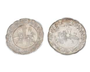 A pair of Chinese silver plates