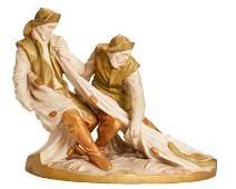 A Royal Dux figure of two fisherman