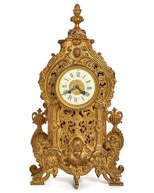 A French gilt-bronze mantle clock