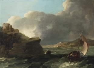 Small sailboat near a rocky coastline