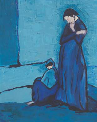 Two figures in blue, one standing