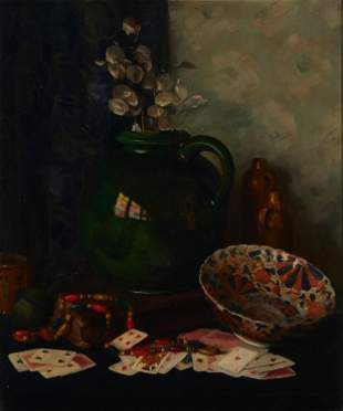 Still life with vase, bowl and playing cards