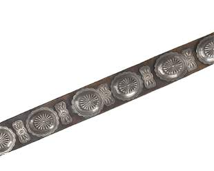 A large Navajo silver concho belt
